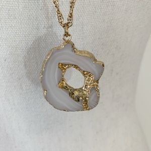 White Geode Slice Pendant Necklace w Gold {AB}